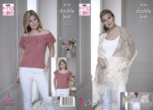 King Cole 5116 Crochet Pattern Ladies Wrap Off the Shoulder Top