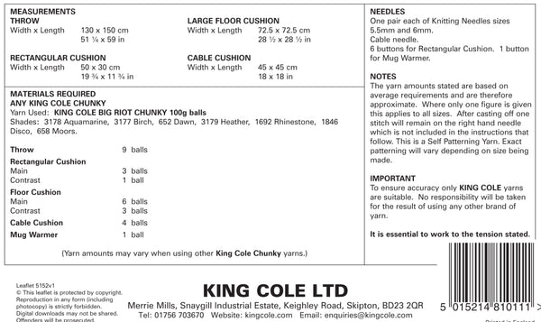 King Cole 5152 Chunky Interior Accessories Knitting Pattern