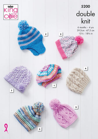 King Cole 5200 Babies Hats Knitting Pattern