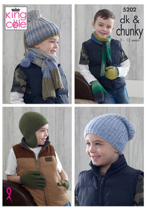 King Cole 5202 Boys Chunky Hat Gloves Scarf Mittens Knitting Pattern