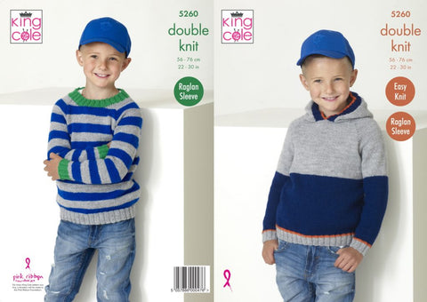 King Cole 5260 DK Knitting Childrens Sweater Hoodie