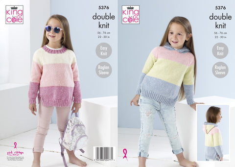 King Cole Knitting Pattern 5376 Girls Jumpers