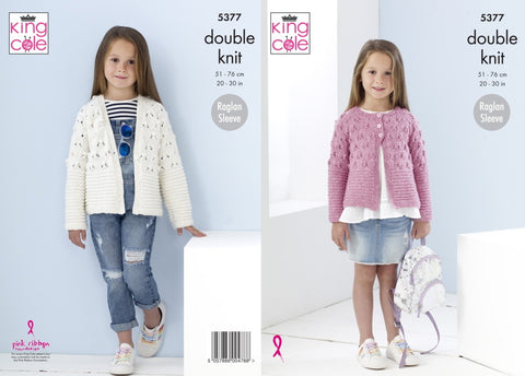 King Cole Knitting Pattern 5377 Girls Cardigans