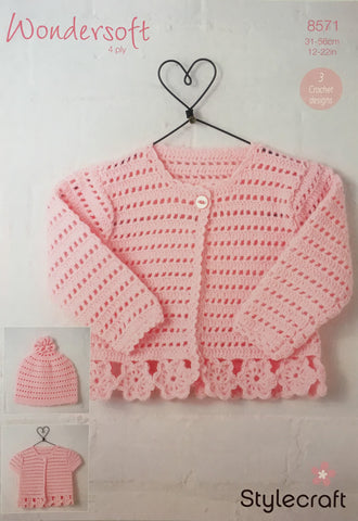 Stylecraft 8571 Wondersoft 4Ply Crochet Pattern Baby Cardigan Hat