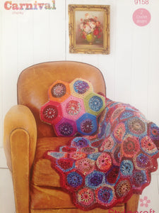 Stylecraft Crochet Pattern 9158 Hexagon Throw and Cushion