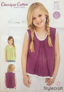 Stylecraft 9257 DK Knitting Pattern Girls Tops