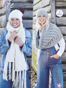 Stylecraft 9447 Hat Scarfs Snood Knitting Pattern