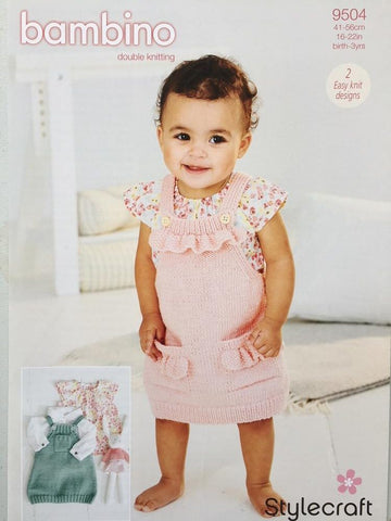 Stylecraft 9504 Baby Pinafores Knitting Pattern