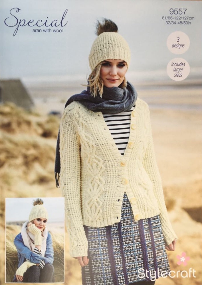 Stylecraft 9557 Aran Knitting Pattern Cardigan, Hat Mitts
