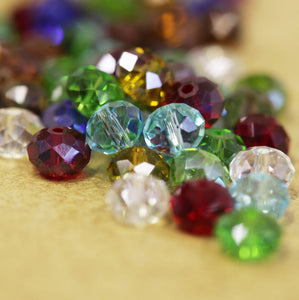 Mixed Colours Flat Round Faceted Glass Beads