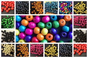 100 Coloured Wooden Beads 8mm
