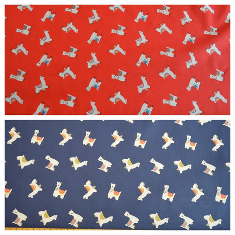 Poly Cotton Fabric Alpaca red blue
