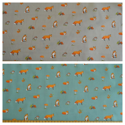 Poly Cotton Fabric Fox grey duck egg