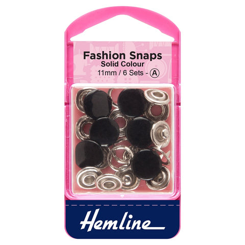 Hemline Fashion Snaps Black 11mm Set