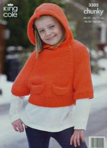 King Cole 3305 Jacket Chunky Knitting Pattern