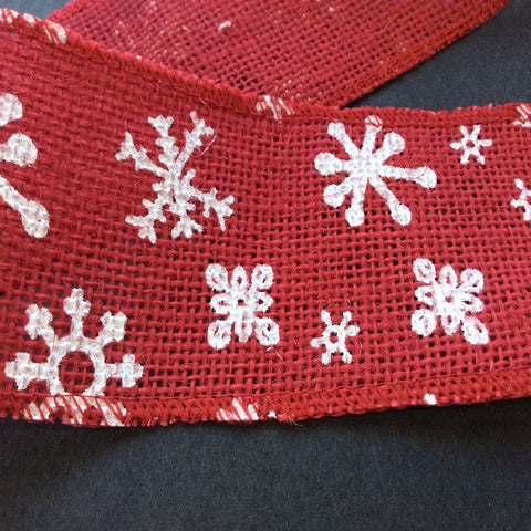 Christmas Snowflake Printed Red Hessian 2 metres