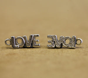 Love Silver Plated Metal Charms - pk10