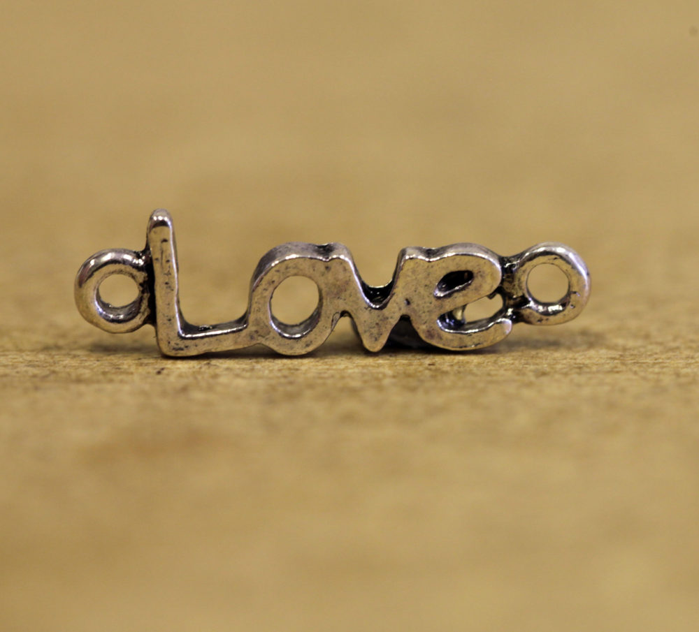 Love Silver Plated Metal Pendant - pk10