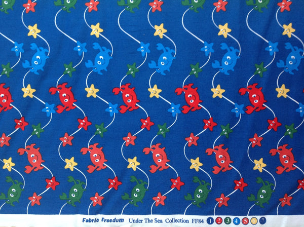 Fabric Freedom Under The Sea 100% Cotton Fabric Quilting Craft crabs