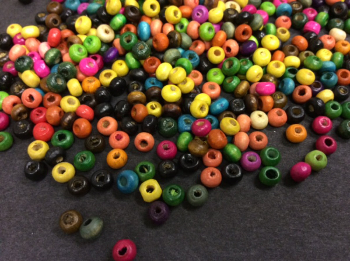 Multicoloured Round Wooden Beads PK 25g