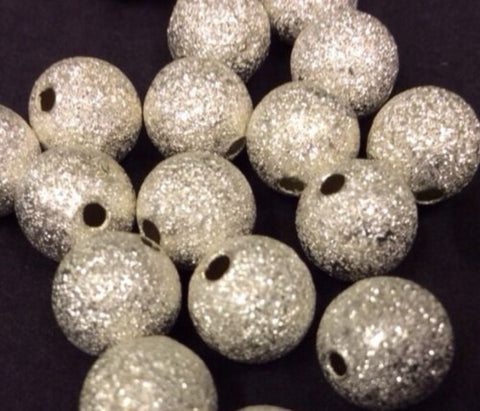 Round Silver Stardust Beads - Pk 20 Various Sizes