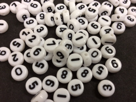 100 White Flat Round Acrylic Beads Number Style 7 mm