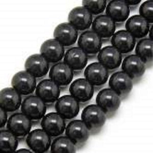 Black Round Glass Beads per Strand