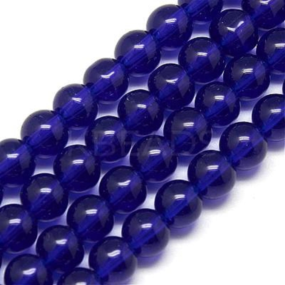 Dark Blue Round Glass Beads per Strand