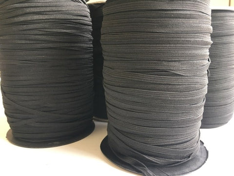 Black Braided Flat Elastic Various Widths