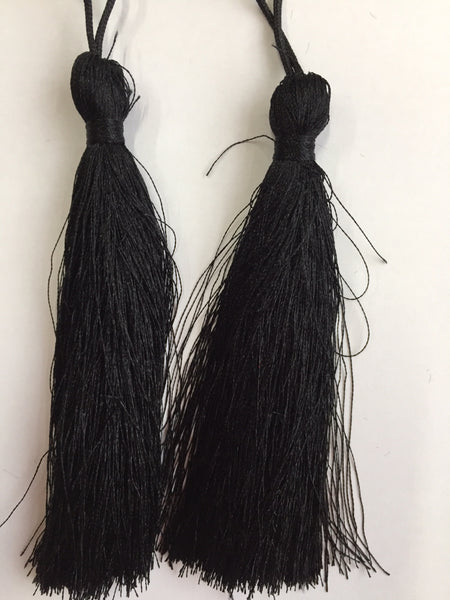 Luxury Silky Tassels 10 cm Assorted Colours Black