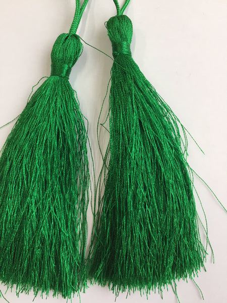 Luxury Silky Tassels 10 cm Assorted Colours Green