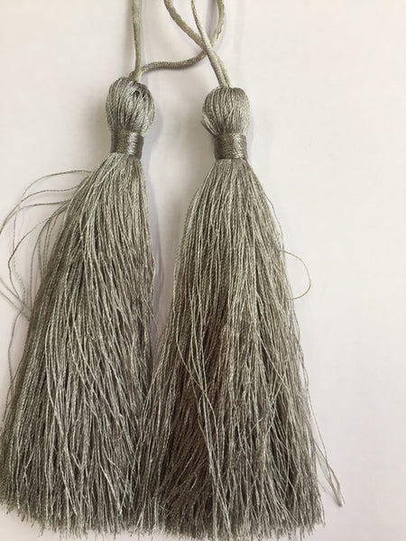 Luxury Silky Tassels 10 cm Assorted Colours Grey