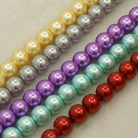 200 Mixed Round Glass Pearl Beads 4mm 6mm 8mm
