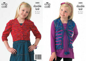 King Cole 3405 Childs Cardigan Waistcoat DK  Knitting Pattern