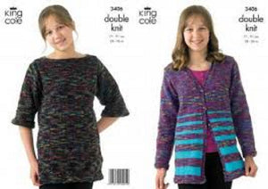 King Cole 3406 Childs Cardigan Tunic DKouble knit Knitting Pattern