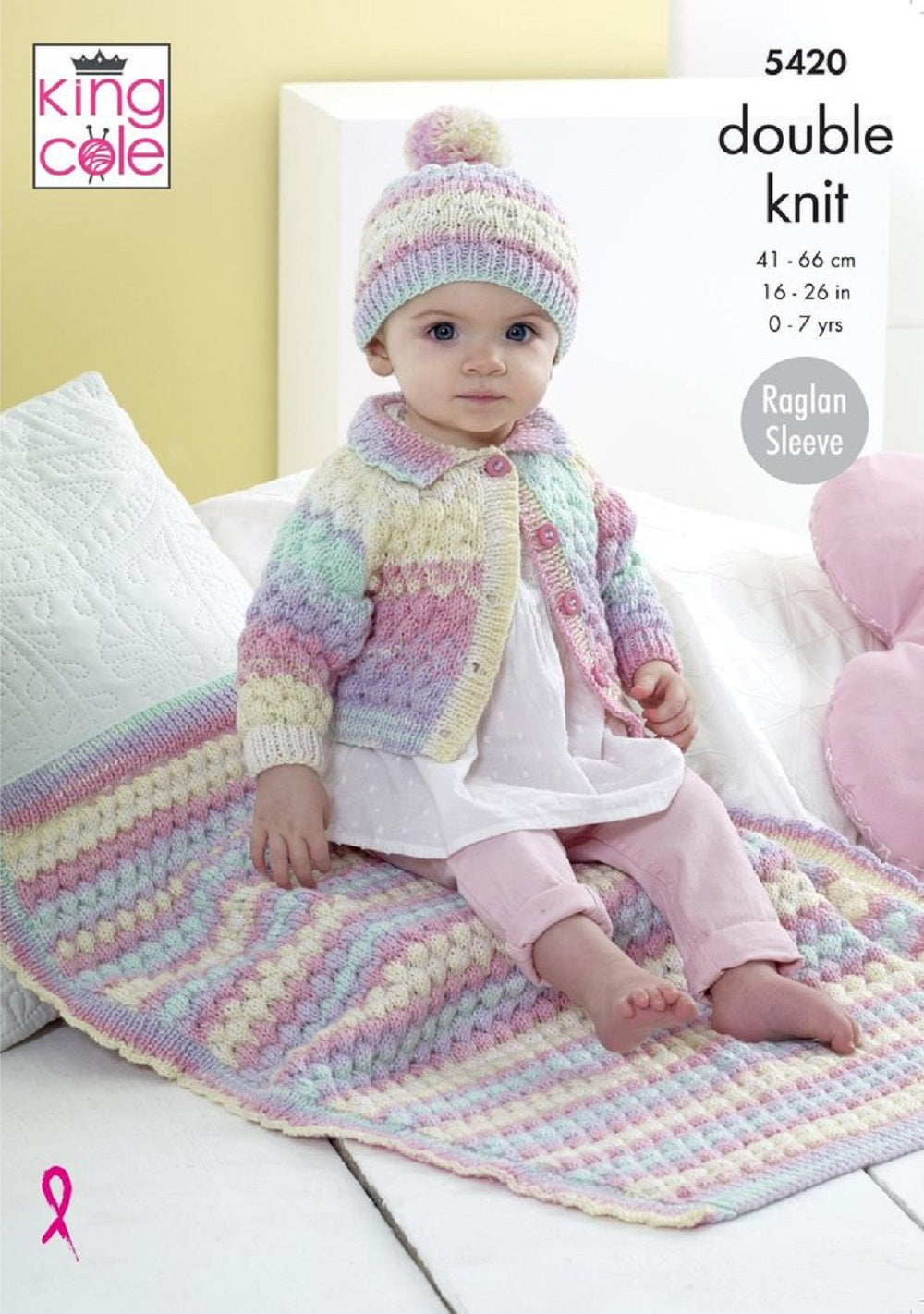 King Cole 5420 Childs Cardigan Hat Blanket Double Knit  Knitting Pattern