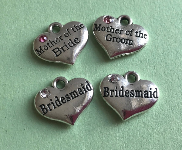 Tibetan Silver Heart Rhinestone Pendants Charms Bridesmaid Mother of the Bride Mother of the Groom