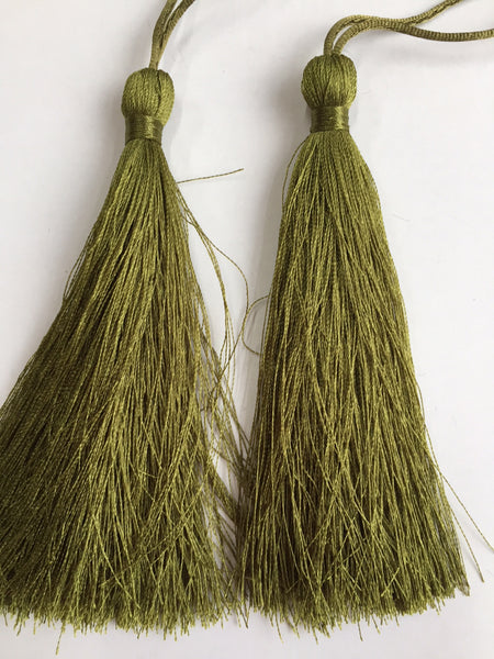 Luxury Silky Tassels 10 cm Assorted Colours moss green