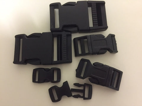Plastic Side Release Buckles Black 10mm 15mm 25mm