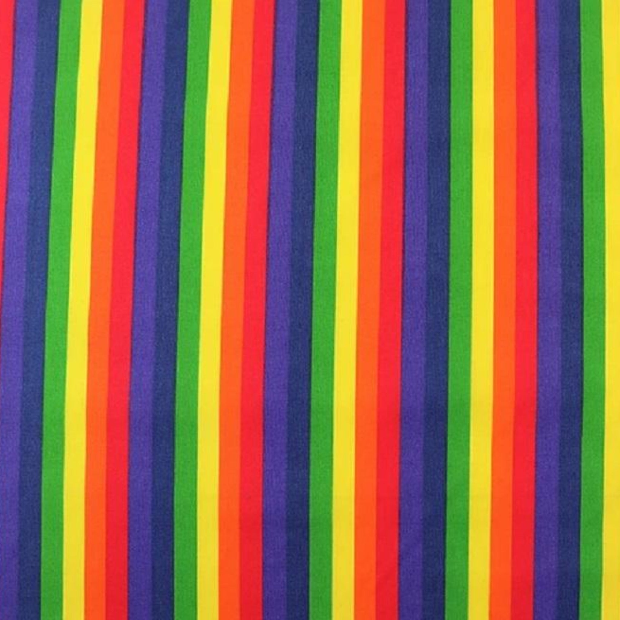 Poly Cotton Rainbow Stripe Fabric