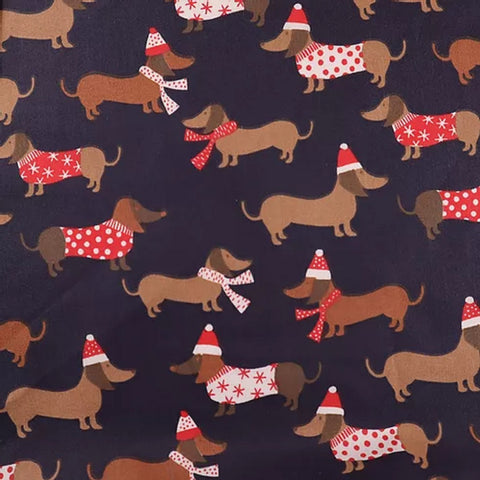 Poly Cotton Print Dachshund Print Navy