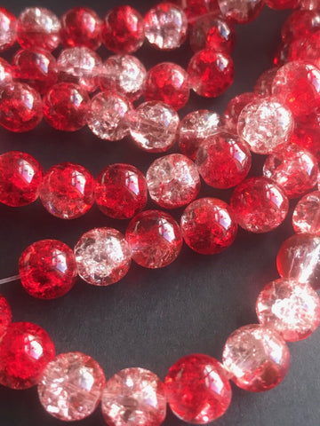 Red Round Crackle Glass Beads 8mm-1 Strand