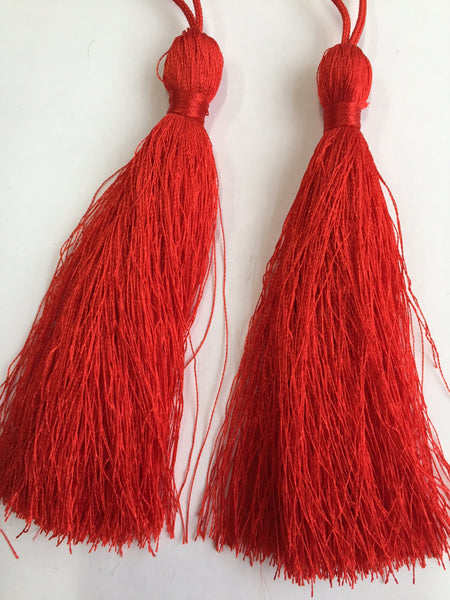 Luxury Silky Tassels 10 cm Assorted Colours Red