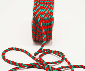 Red Green 10mm Christmas Twisted Cord