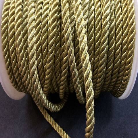 Metallic Gold 5mm Cord per metre