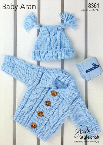 Stylecraft 8361 Babies Cardigan Hat Aran Knitting Pattern
