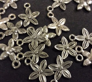Flower Silver Plated Metal Charm - pk15