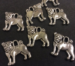 Bulldog Silver Plated Metal Charm - pack 10