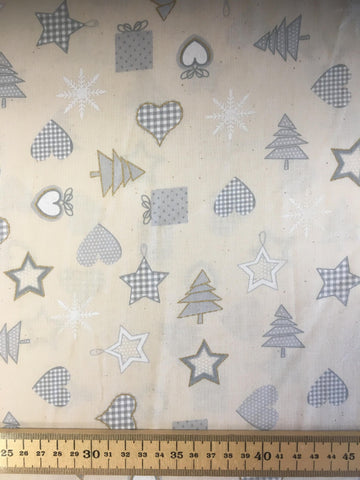 Christmas Cotton Tree Star Heart Fabric