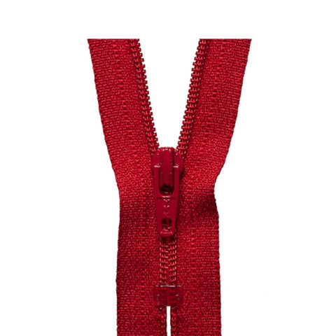 "YKK 12"" Red Closed End Zips"